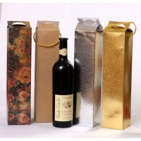 Alpha Paper bags for wine bottles - with string handles