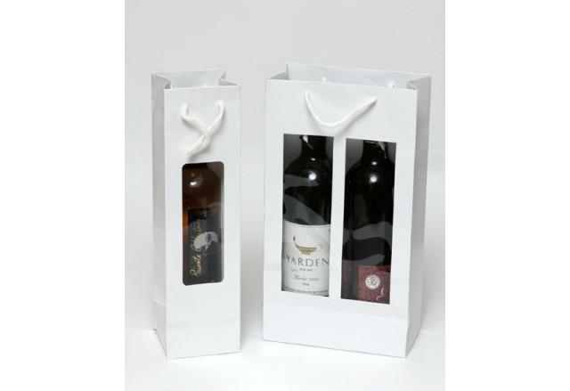 Luxury cardboard bags for wine bottles / 2 bottles, rope handle + clear side