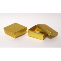 Foldable two pieces matt gold boxes 9X9X4 cm - Discounted !!!