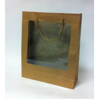 Luxury Paper bags with PVC window - ropes handles